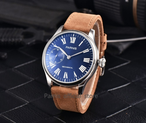 44mm Parnis Roman Numbers Hand Winding Mechanical Mens Aviator Wrist Watch