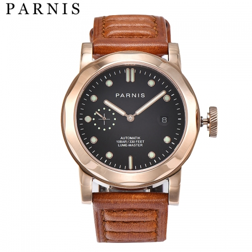 44mm Parnis Sapphire Crystal Automatic Movement Men's Watch Luminous Marker New