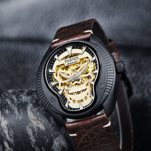 43mm Parnis Sapphire Cool Skull Dial Miyota Automatic Men Mechanical Watch Gift