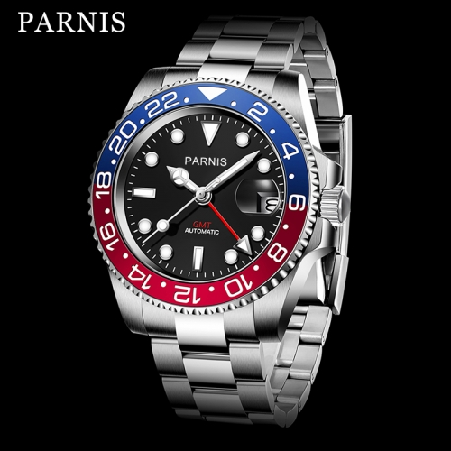 40MM Parnis Luxury Men Mechanical Wristwatch Stainless Steel GMT Sapphire Glass Watch