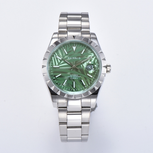 39.5mm Panirs New Design Elegant Green Bezel Automatic Men Wristwatch